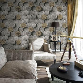 Giấy dán tường giả gạch làm tăng nét sang trọng cho phòng khách