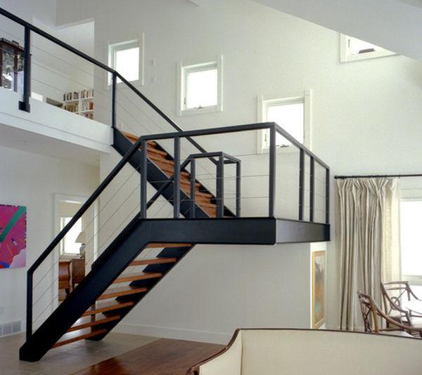 mẫu cầu thang sắt hộp đơn giản rất đẹp