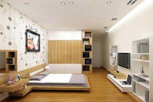 Thiết kế giường pallet gỗ trang trọng
