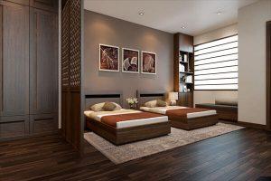 Thiết kế giường đôi kết hợp tủ gỗ