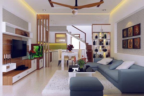 Thiết kế phòng khách nhà ống mang phong cách đơn giản và gọn gàng