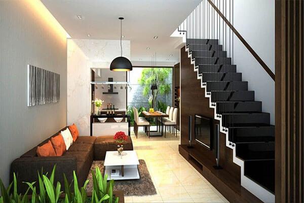 Thiết kế phòng khách nhà ống cùng sự kết hợp với nhà bếp