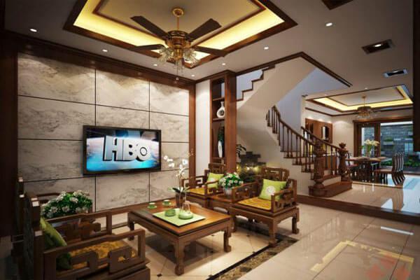 Thiết kế phòng khách nhà ống mang phong cách cổ điển