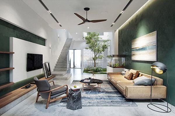Thiết kế mẫu phòng khách nhà ống 6m mang phong cách hiện đại