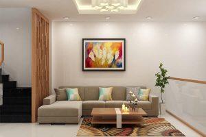 Thiết kế mẫu phòng khách được bố trí gọn gàng