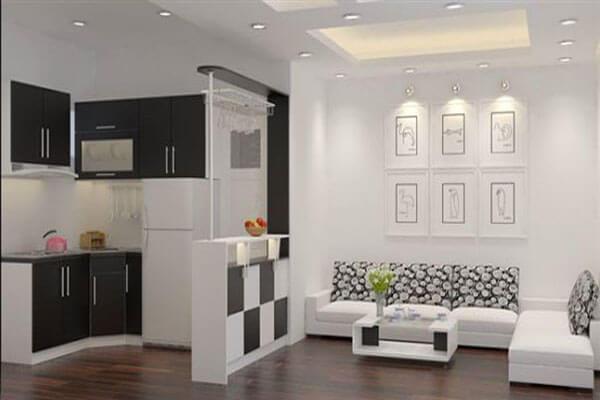 Thiết kế mẫu phòng kết hợp thêm nhà bếp rất tiện lợi