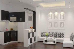 Thiết kế mẫu phòng khách kết hợp thêm nhà bếp rất tiện lợi