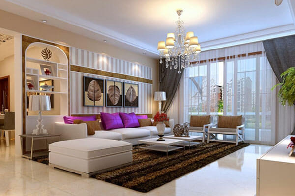 Thiết kế phòng khách sử dụng nguồn ánh sáng tự nhiên và nhân tạo