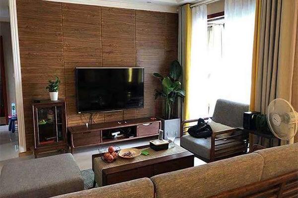 Thiết kế phòng sử dụng phông xốp giả gỗ hoài cổ