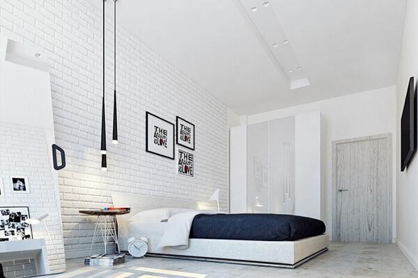 Thiết kế phòng sử dụng phông xốp màu trắng trang nhã